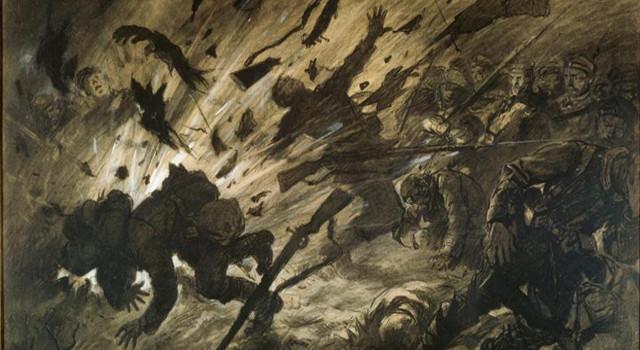 Tableau Effet d'un obus dans la nuit, avril 1915. Georges Scott, 1915